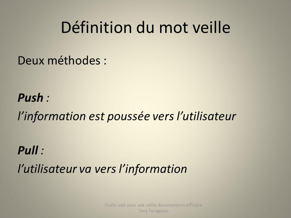 Définition du mot veille Deux méthodes : Push : linformation est poussée vers lutilisateur Pull : lutilisateur va vers linformation Outils web pour un