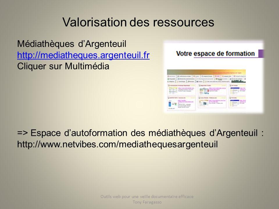 Valorisation des ressources Médiathèques dArgenteuil http://mediatheques.argenteuil.fr http://mediatheques.argenteuil.fr Cliquer sur Multimédia => Esp