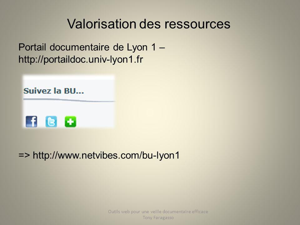 Valorisation des ressources Portail documentaire de Lyon 1 – http://portaildoc.univ-lyon1.fr => http://www.netvibes.com/bu-lyon1 Outils web pour une v