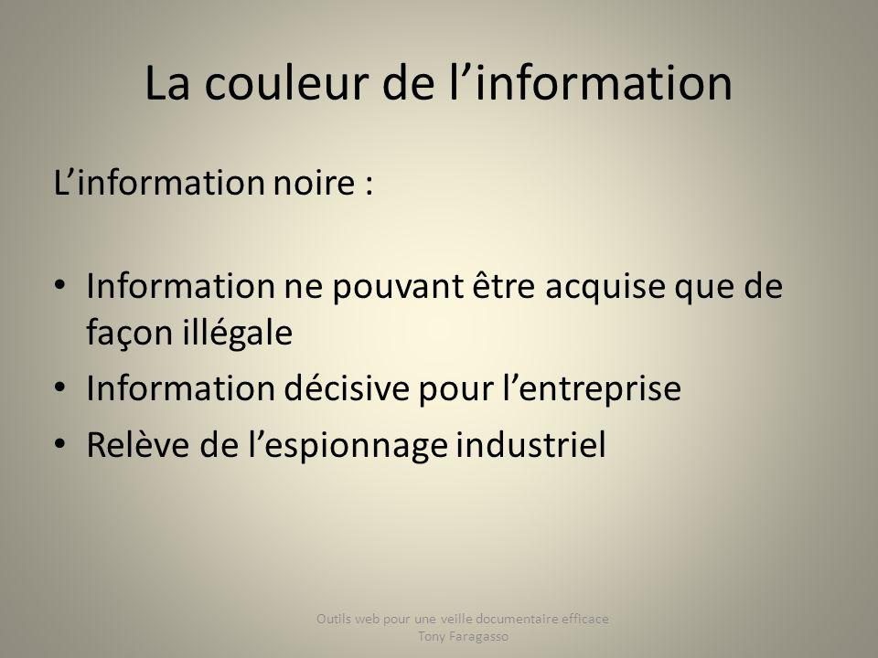 La couleur de linformation Linformation noire : Information ne pouvant être acquise que de façon illégale Information décisive pour lentreprise Relève