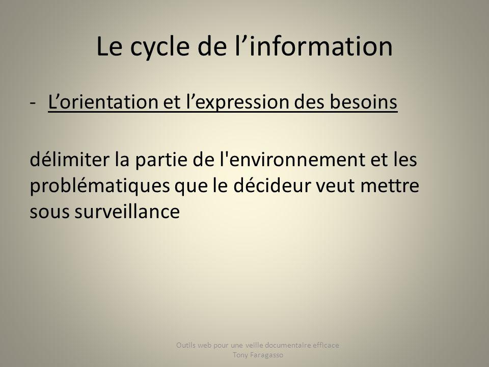 Le cycle de linformation -Lorientation et lexpression des besoins délimiter la partie de l'environnement et les problématiques que le décideur veut me