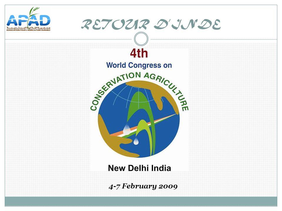 Innovations for improving efficiency, equity and environment Le 4 e Congrès Mondial de lAgriculture de Conservation qui sest tenu à New-Delhi du 4 au 7 février 2009 a réuni plus de 1000 participants des 5 continents.