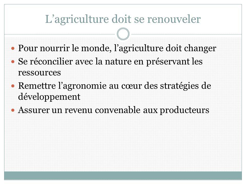 Lagriculture doit se renouveler Pour nourrir le monde, lagriculture doit changer Se réconcilier avec la nature en préservant les ressources Remettre lagronomie au cœur des stratégies de développement Assurer un revenu convenable aux producteurs