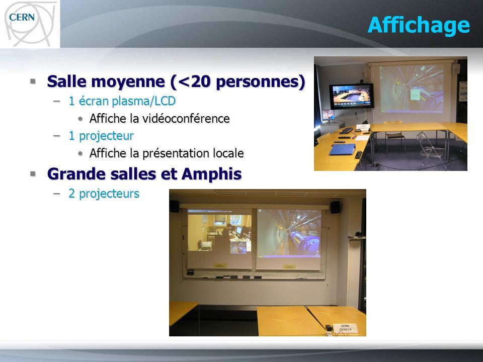 Affichage Salle moyenne (<20 personnes) Salle moyenne (<20 personnes) –1 écran plasma/LCD Affiche la vidéoconférenceAffiche la vidéoconférence –1 proj