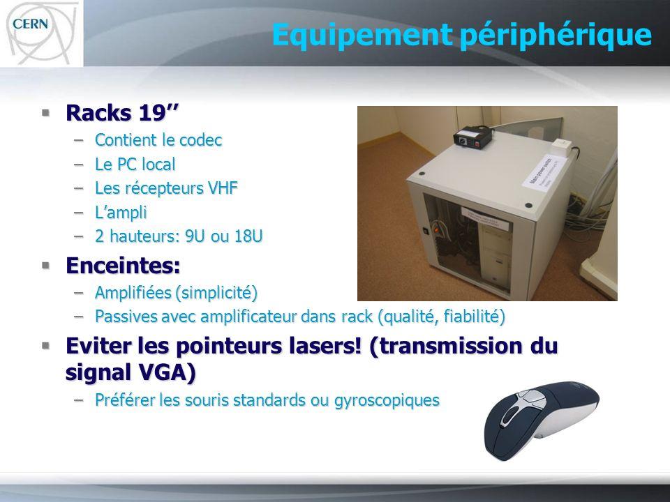 Equipement périphérique Racks 19 Racks 19 –Contient le codec –Le PC local –Les récepteurs VHF –Lampli –2 hauteurs: 9U ou 18U Enceintes: Enceintes: –Am