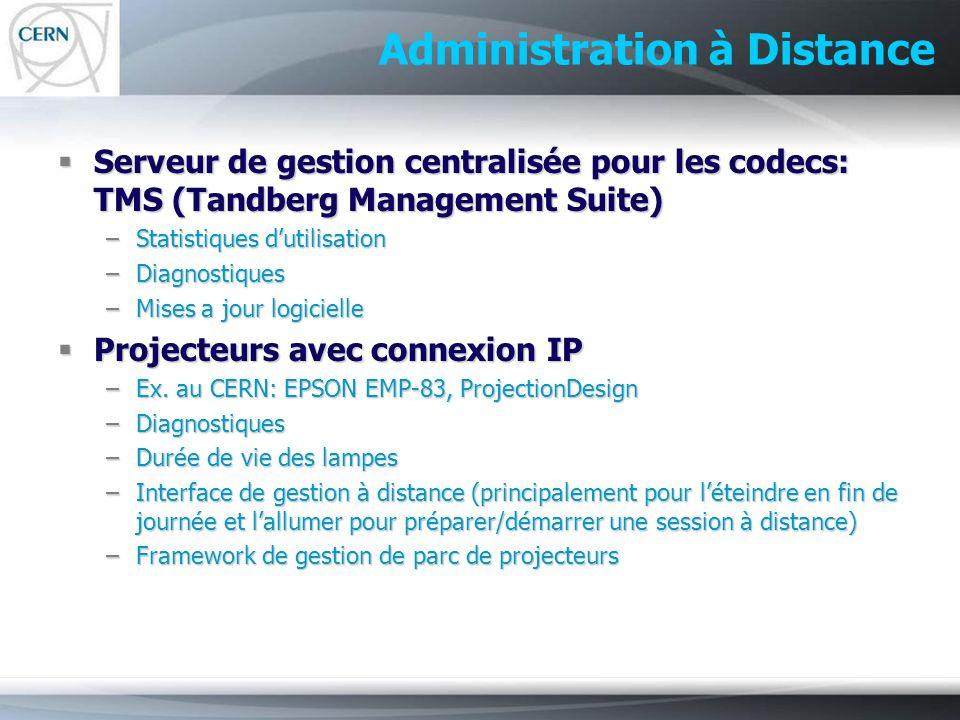 Administration à Distance Serveur de gestion centralisée pour les codecs: TMS (Tandberg Management Suite) Serveur de gestion centralisée pour les code