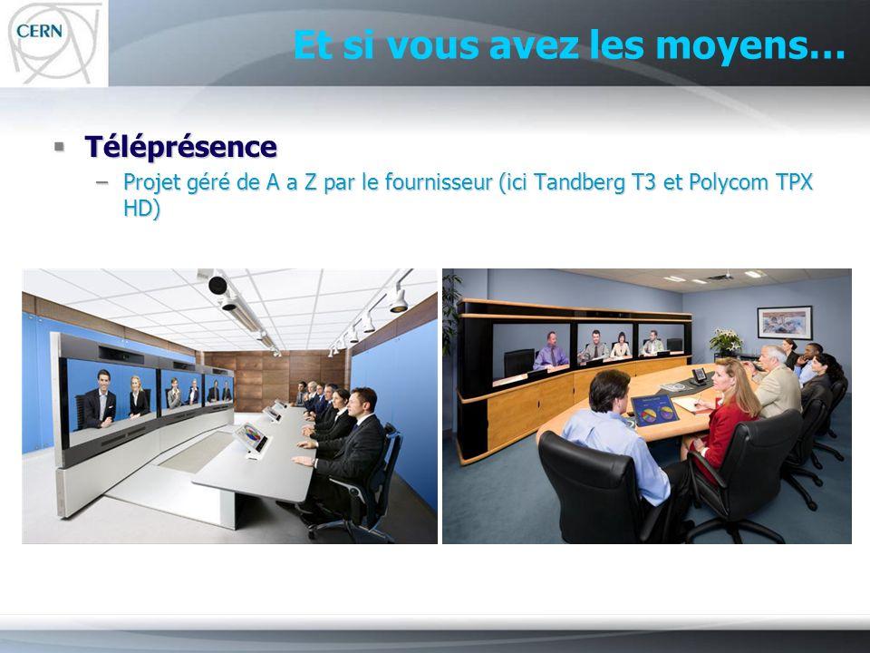 Et si vous avez les moyens… Téléprésence Téléprésence –Projet géré de A a Z par le fournisseur (ici Tandberg T3 et Polycom TPX HD)