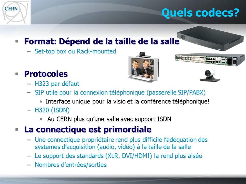 Quels codecs? Format: Dépend de la taille de la salle Format: Dépend de la taille de la salle –Set-top box ou Rack-mounted Protocoles Protocoles –H323