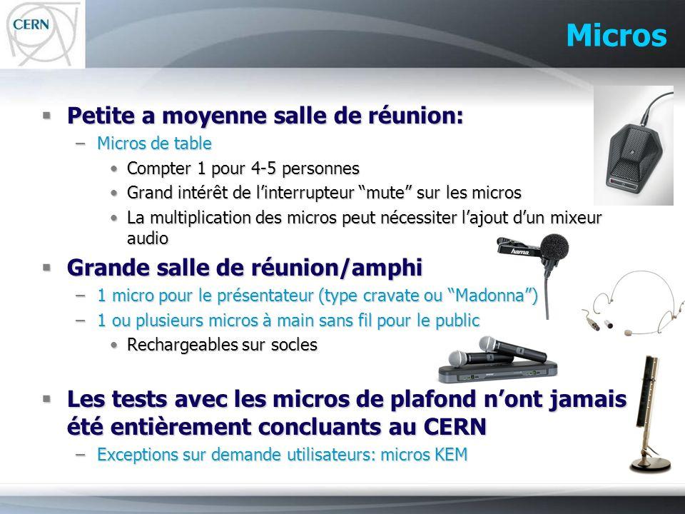 Micros Petite a moyenne salle de réunion: Petite a moyenne salle de réunion: –Micros de table Compter 1 pour 4-5 personnesCompter 1 pour 4-5 personnes