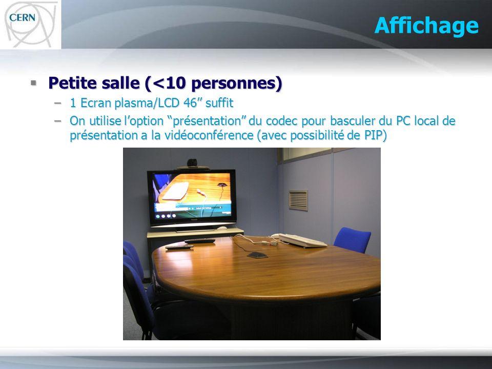 Affichage Petite salle (<10 personnes) Petite salle (<10 personnes) –1 Ecran plasma/LCD 46 suffit –On utilise loption présentation du codec pour bascu