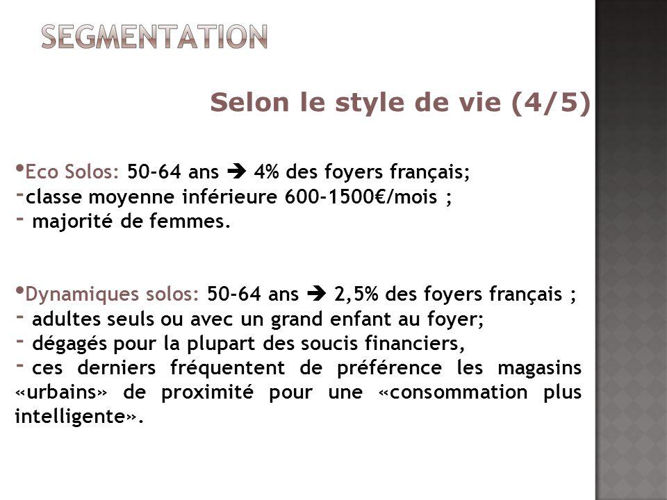 Eco Solos: 50-64 ans 4% des foyers français; - classe moyenne inférieure 600-1500/mois ; - majorité de femmes. Dynamiques solos: 50-64 ans 2,5% des fo