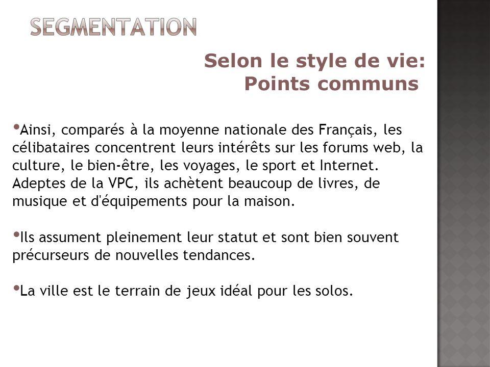 Ainsi, comparés à la moyenne nationale des Français, les célibataires concentrent leurs intérêts sur les forums web, la culture, le bien-être, les voy