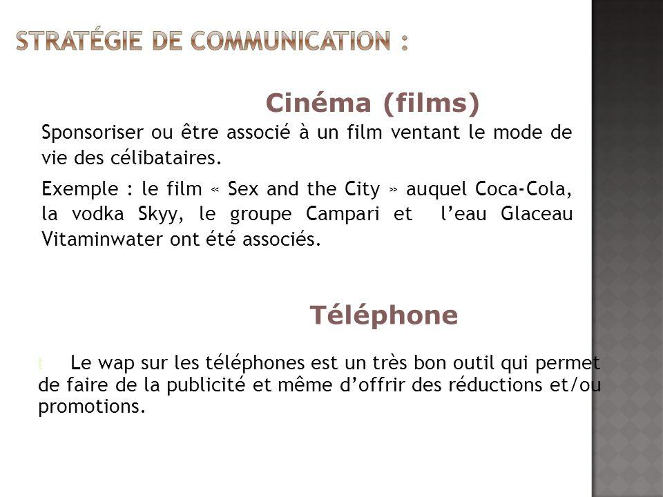 Sponsoriser ou être associé à un film ventant le mode de vie des célibataires. Exemple : le film « Sex and the City » auquel Coca-Cola, la vodka Skyy,