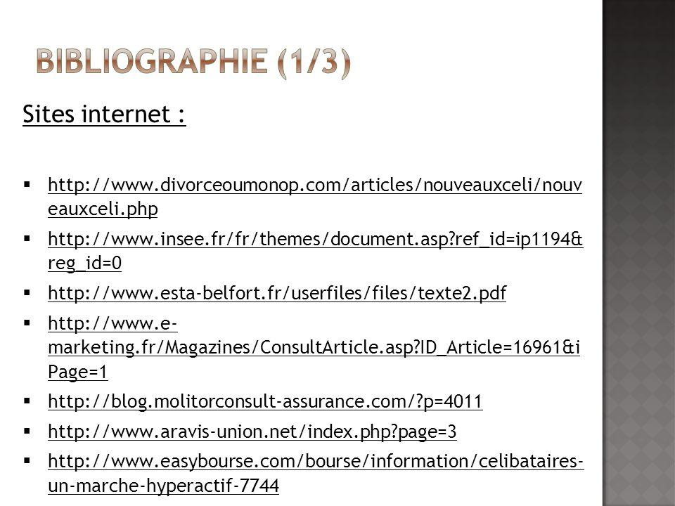 Sites internet : http://www.divorceoumonop.com/articles/nouveauxceli/nouv eauxceli.php http://www.divorceoumonop.com/articles/nouveauxceli/nouv eauxce