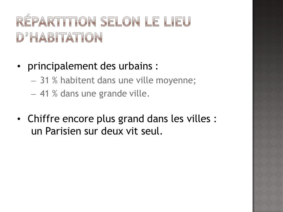 Eco Solos: 50-64 ans 4% des foyers français; - classe moyenne inférieure 600-1500/mois ; - majorité de femmes.