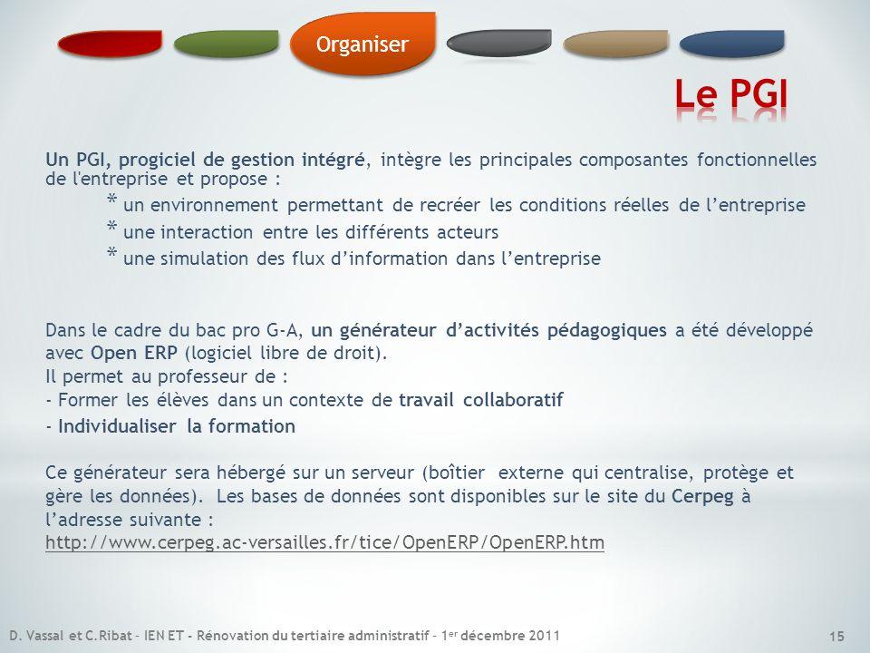 15 Un PGI, progiciel de gestion intégré, intègre les principales composantes fonctionnelles de l'entreprise et propose : * un environnement permettant