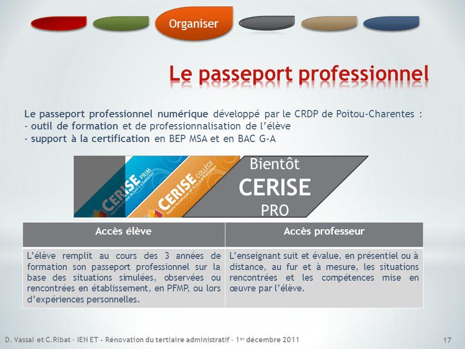 Le passeport professionnel numérique développé par le CRDP de Poitou-Charentes : - outil de formation et de professionnalisation de lélève - support à