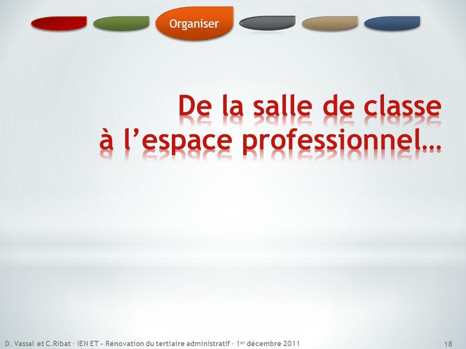 Organiser 18 D. Vassal et C.Ribat – IEN ET - Rénovation du tertiaire administratif – 1 er décembre 2011