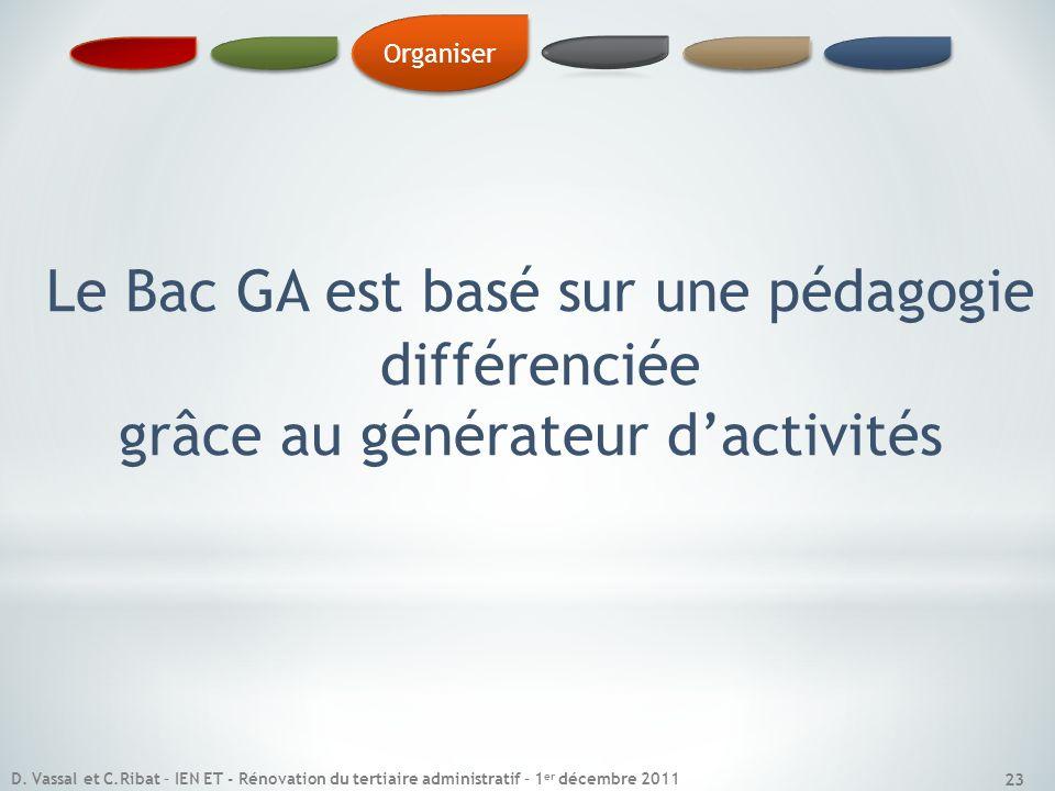 Le Bac GA est basé sur une pédagogie différenciée grâce au générateur dactivités Organiser 23 D. Vassal et C.Ribat – IEN ET - Rénovation du tertiaire