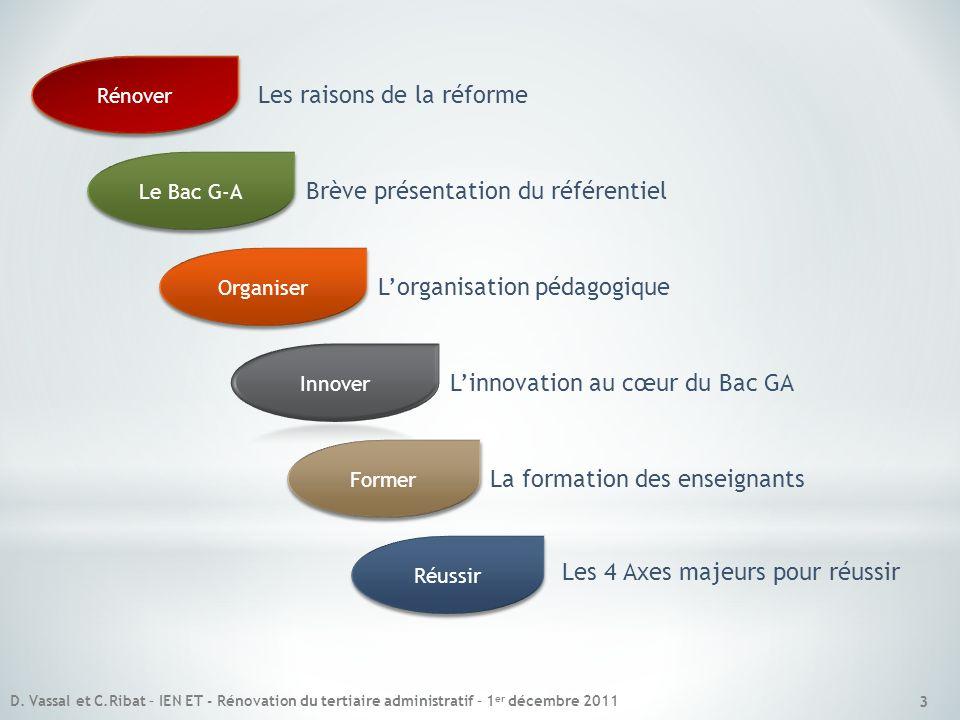 3 Le Bac G-A Brève présentation du référentiel Organiser Lorganisation pédagogique Linnovation au cœur du Bac GA Former La formation des enseignants R