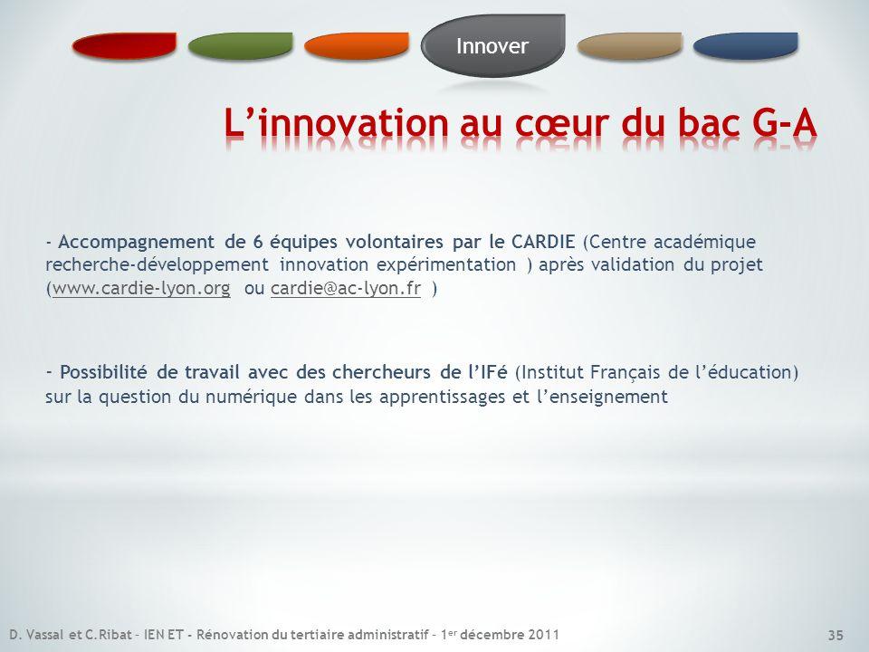 35 - Accompagnement de 6 équipes volontaires par le CARDIE (Centre académique recherche-développement innovation expérimentation ) après validation du