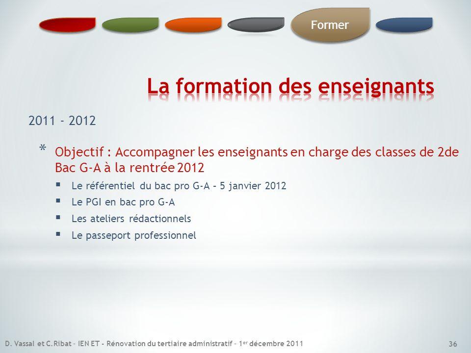 * Objectif : Accompagner les enseignants en charge des classes de 2de Bac G-A à la rentrée 2012 Le référentiel du bac pro G-A – 5 janvier 2012 Le PGI