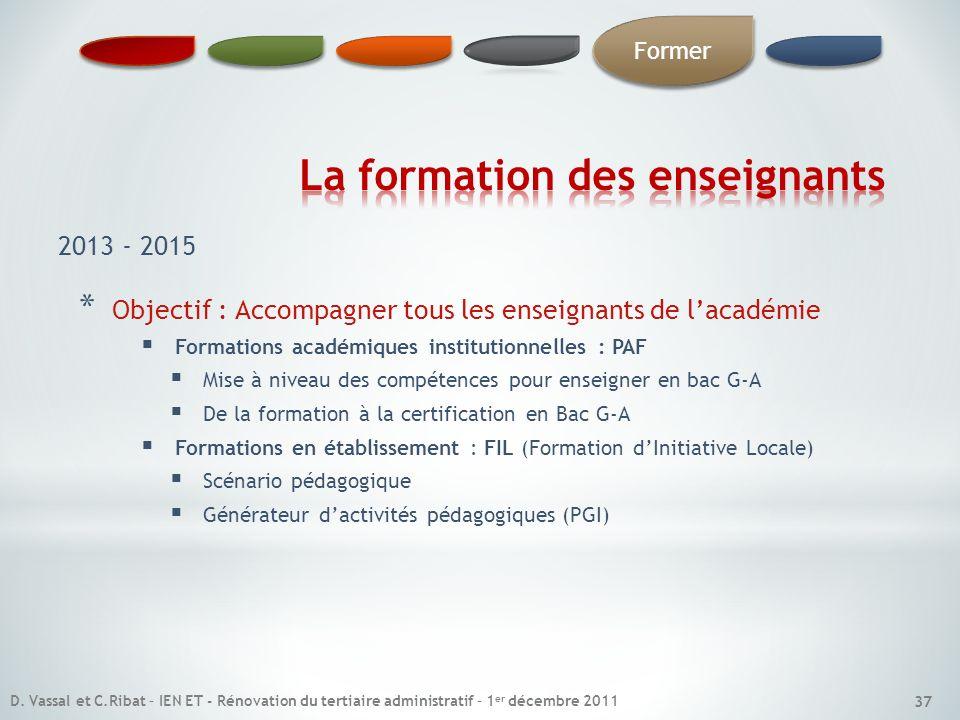 * Objectif : Accompagner tous les enseignants de lacadémie Formations académiques institutionnelles : PAF Mise à niveau des compétences pour enseigner