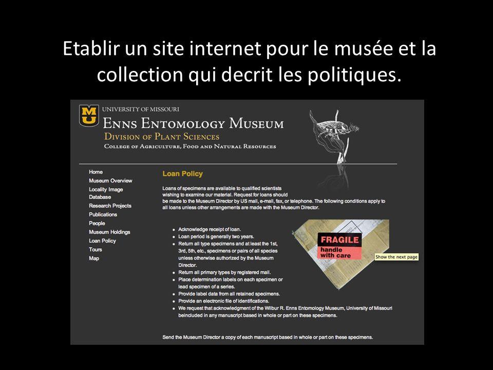 Etablir un site internet pour le musée et la collection qui decrit les politiques.