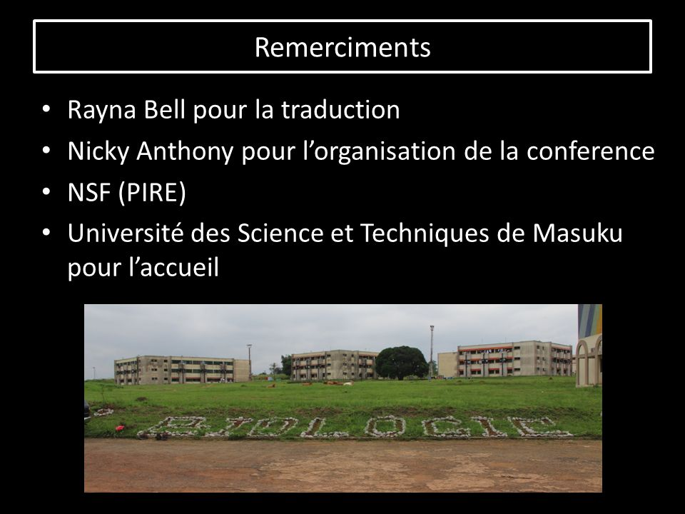 Rayna Bell pour la traduction Nicky Anthony pour lorganisation de la conference NSF (PIRE) Université des Science et Techniques de Masuku pour laccueil Remerciments