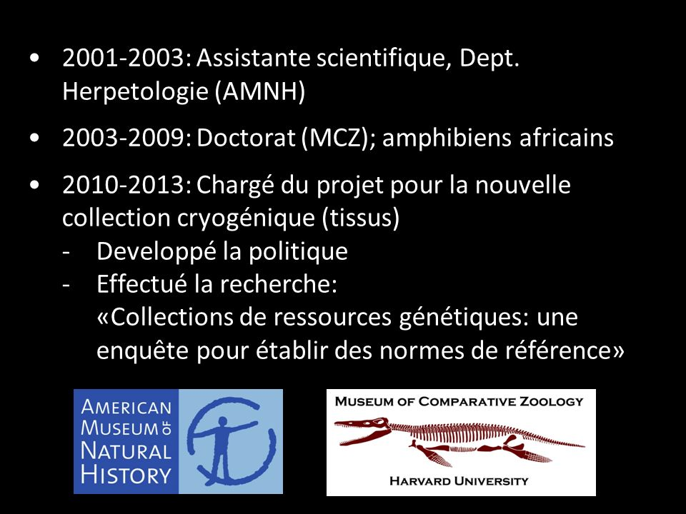 2001-2003: Assistante scientifique, Dept.