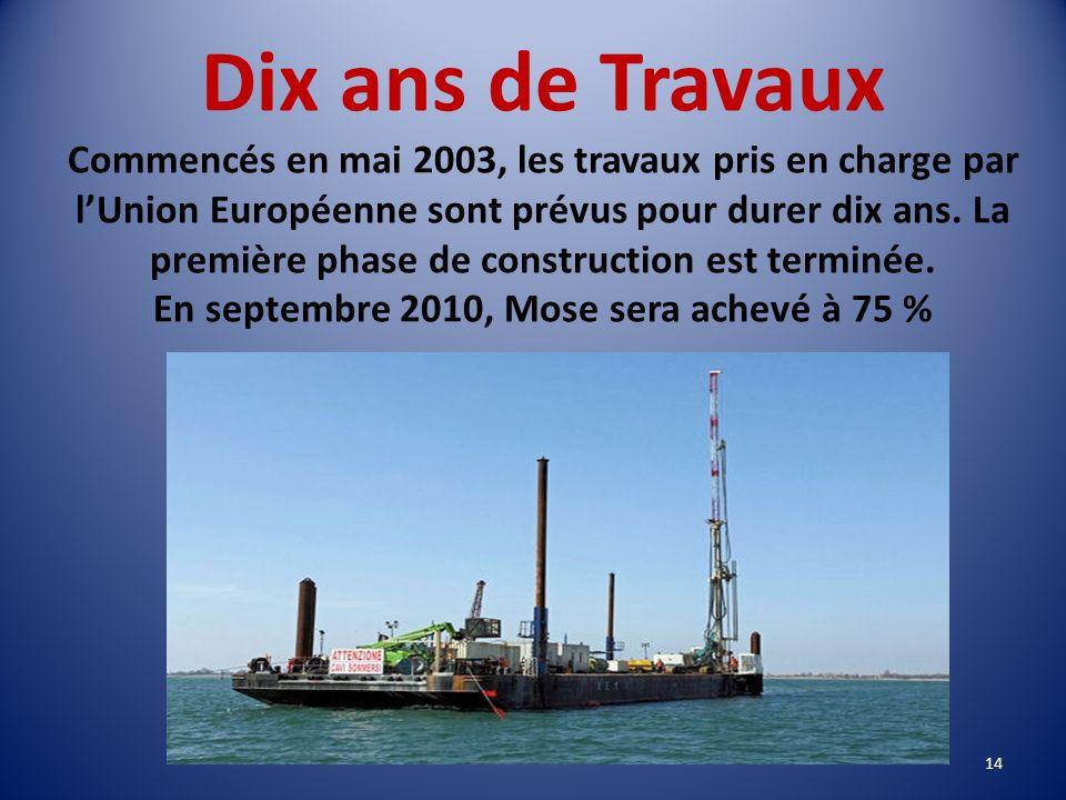 Plan MOSE 78 digues mobiles, véritables barrières rétractables, seront censées isoler la lagune de la mer durant les marées dangereuses. Faites de mét