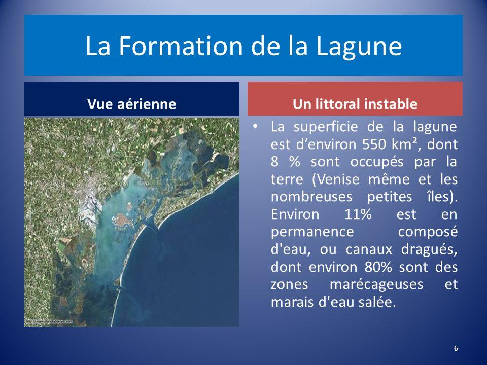 La Formation de la Lagune Vue aérienneUn littoral instable La superficie de la lagune est denviron 550 km², dont 8 % sont occupés par la terre (Venise même et les nombreuses petites îles).