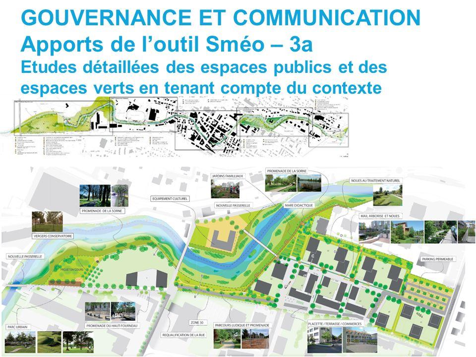 GOUVERNANCE ET COMMUNICATION Apports de loutil Sméo – 3a Etudes détaillées des espaces publics et des espaces verts en tenant compte du contexte
