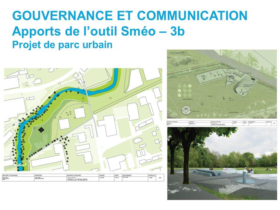 GOUVERNANCE ET COMMUNICATION Apports de loutil Sméo – 3b Projet de parc urbain