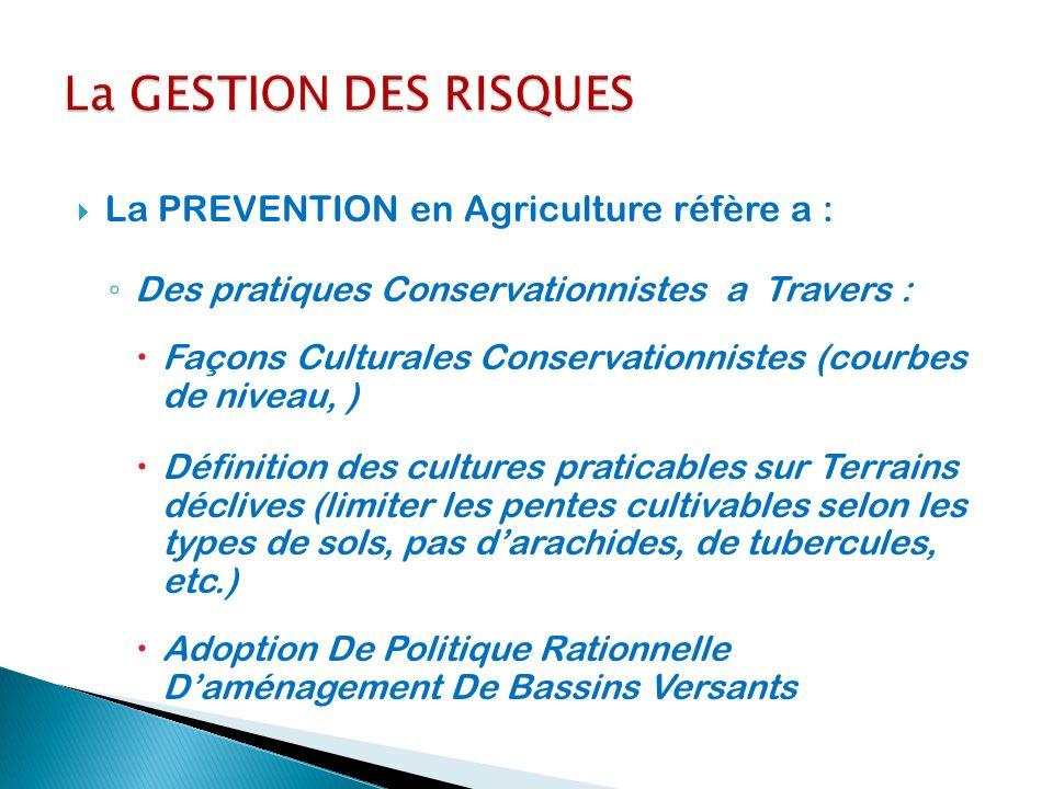 La PREVENTION en Agriculture réfère a : Des pratiques Conservationnistes a Travers : Façons Culturales Conservationnistes (courbes de niveau, ) Défini