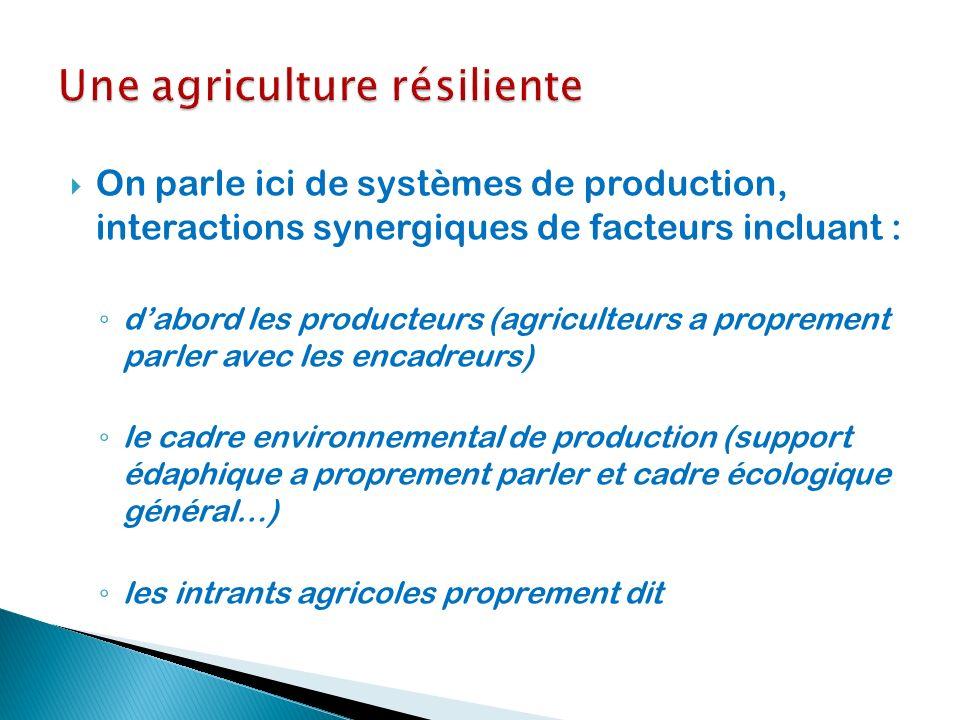On parle ici de systèmes de production, interactions synergiques de facteurs incluant : dabord les producteurs (agriculteurs a proprement parler avec
