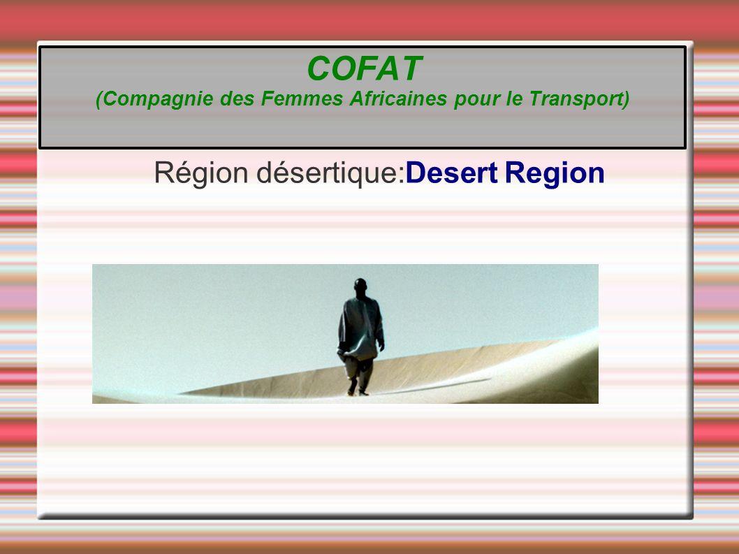 Région désertique:Desert Region COFAT (Compagnie des Femmes Africaines pour le Transport)