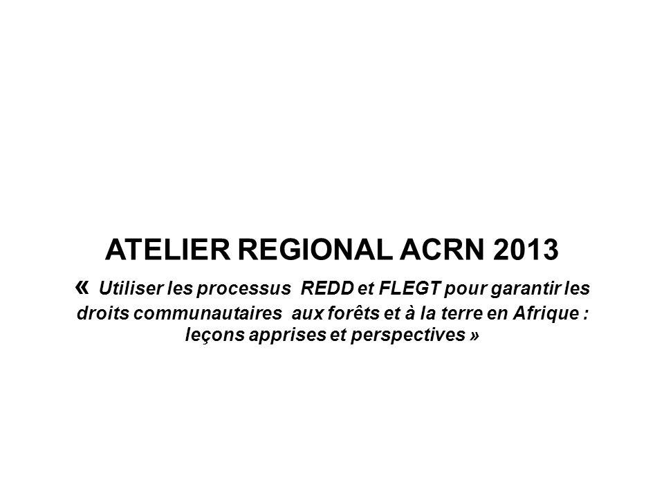 ATELIER REGIONAL ACRN 2013 « Utiliser les processus REDD et FLEGT pour garantir les droits communautaires aux forêts et à la terre en Afrique : leçons apprises et perspectives »
