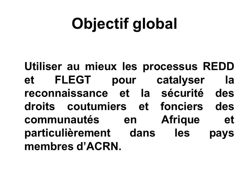 Objectif global Utiliser au mieux les processus REDD et FLEGT pour catalyser la reconnaissance et la sécurité des droits coutumiers et fonciers des communautés en Afrique et particulièrement dans les pays membres dACRN.
