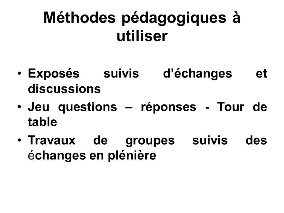 Méthodes pédagogiques à utiliser Exposés suivis déchanges et discussions Jeu questions – réponses - Tour de table Travaux de groupes suivis des échanges en plénière