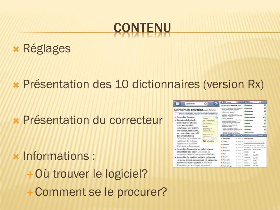 Réglages Présentation des 10 dictionnaires (version Rx) Présentation du correcteur Informations : Où trouver le logiciel.