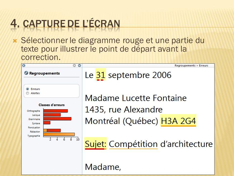 Sélectionner le diagramme rouge et une partie du texte pour illustrer le point de départ avant la correction.