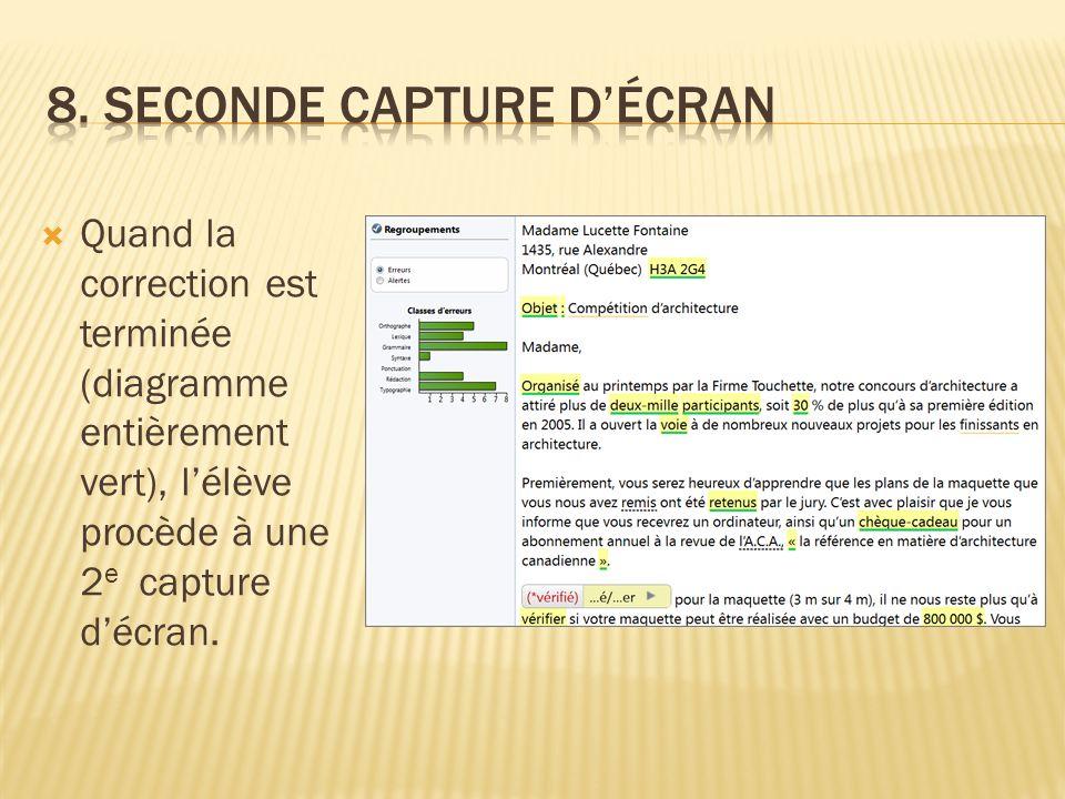 Quand la correction est terminée (diagramme entièrement vert), lélève procède à une 2 e capture décran.