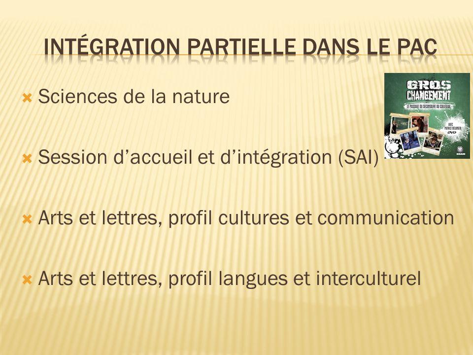 Sciences de la nature Session daccueil et dintégration (SAI) Arts et lettres, profil cultures et communication Arts et lettres, profil langues et interculturel