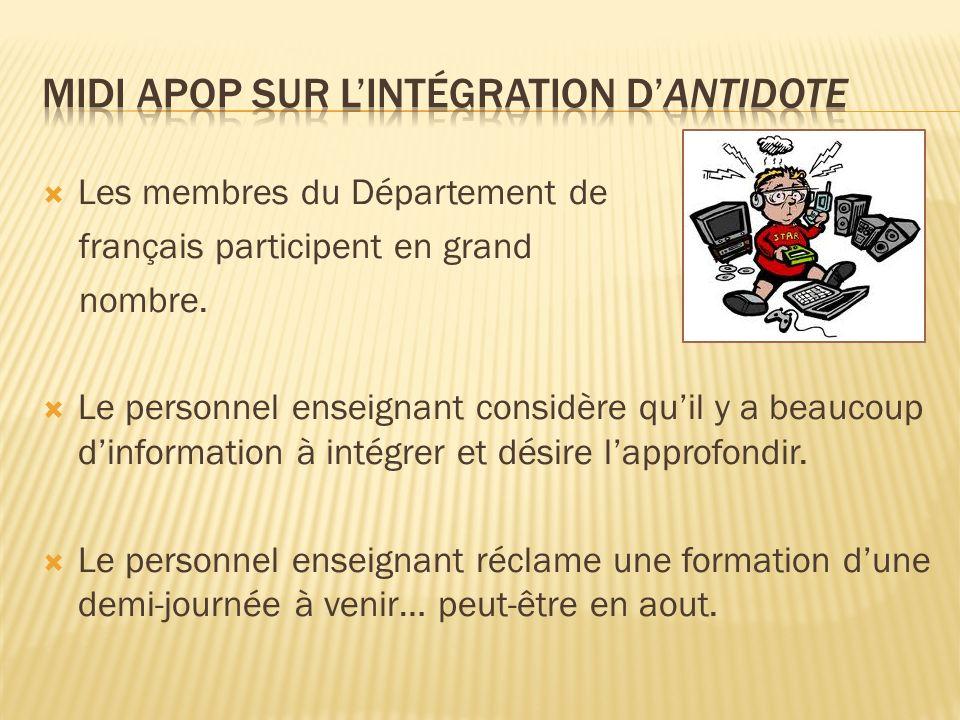 Les membres du Département de français participent en grand nombre.