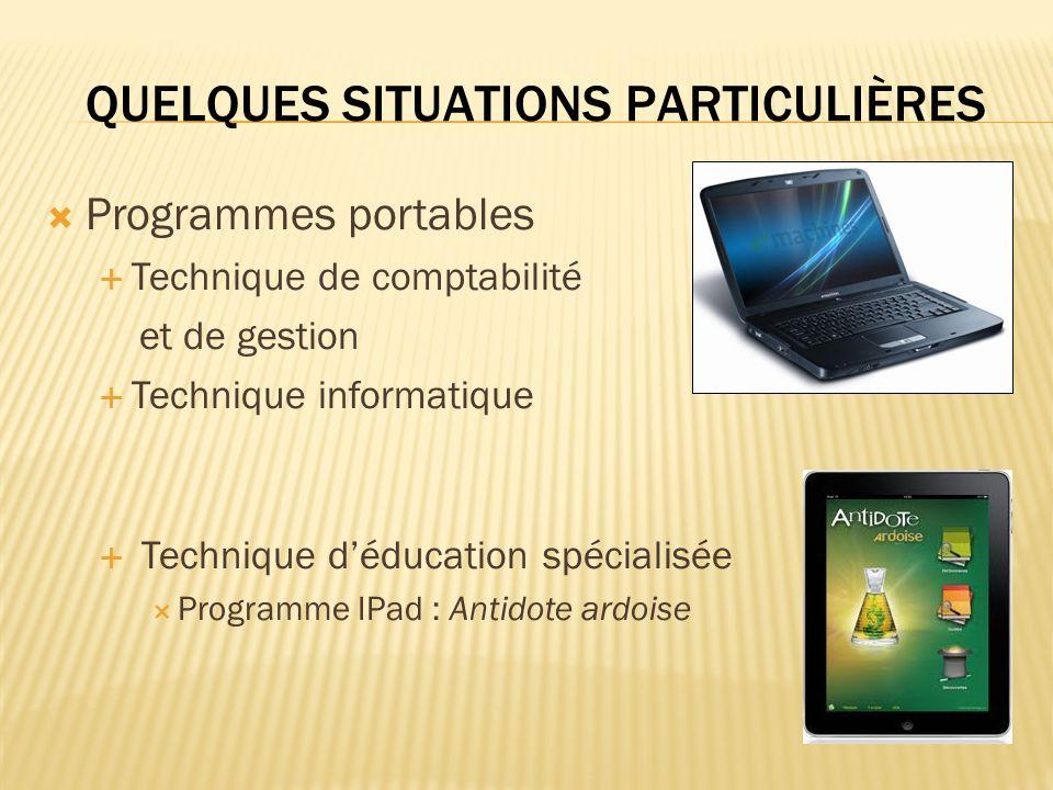Programmes portables Technique de comptabilité et de gestion Technique informatique Technique déducation spécialisée Programme IPad : Antidote ardoise