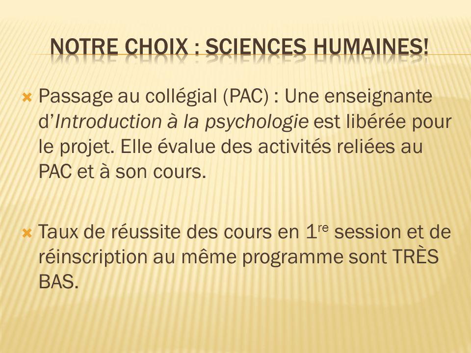 Passage au collégial (PAC) : Une enseignante dIntroduction à la psychologie est libérée pour le projet.