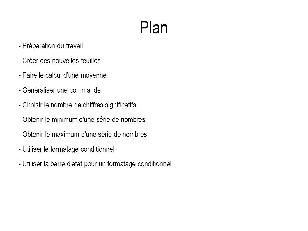 Plan - Préparation du travail - Créer des nouvelles feuilles - Faire le calcul d'une moyenne - Généraliser une commande - Choisir le nombre de chiffre