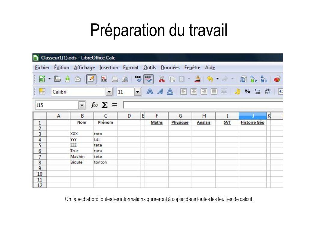Préparation du travail On tape dabord toutes les informations qui seront à copier dans toutes les feuilles de calcul.
