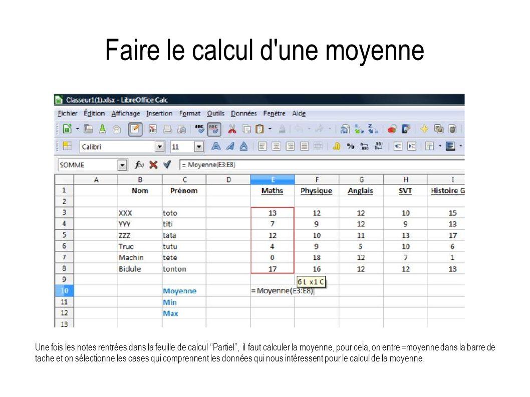 Faire le calcul d'une moyenne Une fois les notes rentrées dans la feuille de calcul Partiel, il faut calculer la moyenne, pour cela, on entre =moyenne